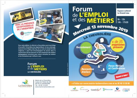 Flyer forum de l'emploi et des métiers La Chevrolière le 13.11.2019 recto