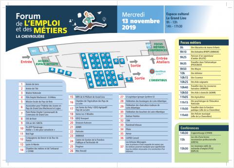 Flyer forum de l'emploi et des métiers La Chevrolière le 13.11.2019 verso
